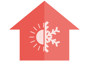 Thermal House Temperature Icon - avoiding cold walls and cold floors