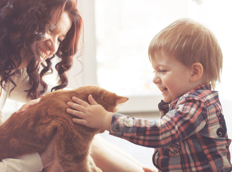 A mother and child with the family cat