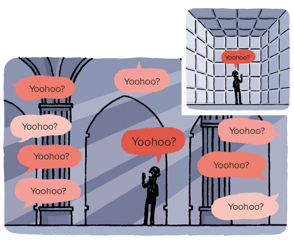 cartoon showing echos around different rooms - sound insulation can prevent this and improve acoustic comfort